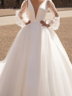 Illusion A-Line Wedding Dress Plunging Neck Tulle Chiffon Long Sleeve Formal Plus Size Bridal Gowns Court Train_3