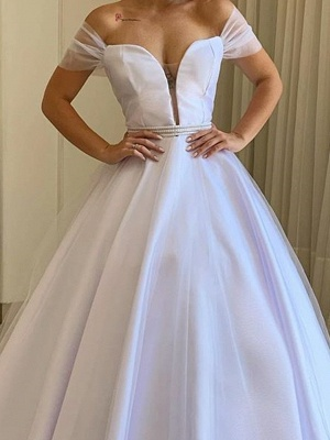 Country Plus Size A-Line Wedding Dress Off Shoulder Tulle Short Sleeve Bridal Gowns with Sweep Train_2