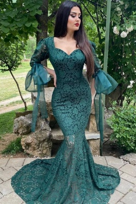 Green Lace Long Sleeve Evening Gowns Mermaid Prom Dress Online
