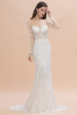 Gorgeous Jewel Tulle Lace Wedding Dress   Long Sleeves Appliques Mermaid Bridal Gowns_1
