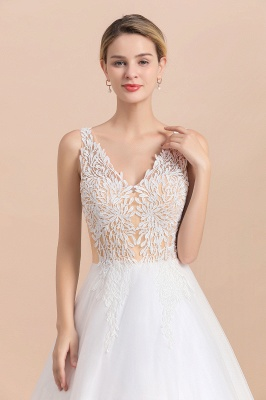 Boho V-Neck Lace Wedding Dress | Tulle Appliques Sleeveless Bridal Gowns_10