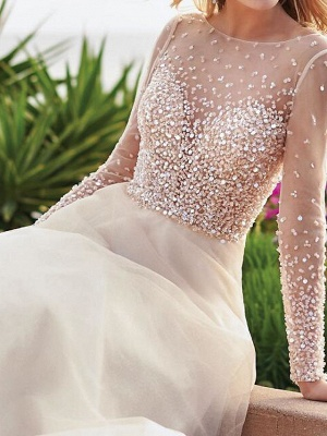 A-Line Wedding Dresses Jewel Tulle Long Sleeve Bridal Gowns Country Plus Size Sweep Train_3