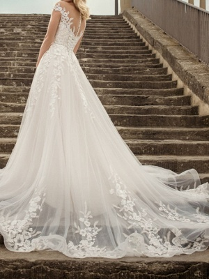 A-Line Wedding Dresses V-Neck Lace Tulle Short Sleeve Bridal Gowns Country Plus Size Court Train_3