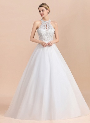 Exquisite High-Neck Lace Wedding Dress | Appliques Sequins Sleeveless Bridal Gowns_7