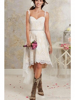 Asymmetrical A-Line Wedding Dress Sweetheart Lace Tulle Lace Spaghetti Strap Bridal Gowns Sweep Train_3