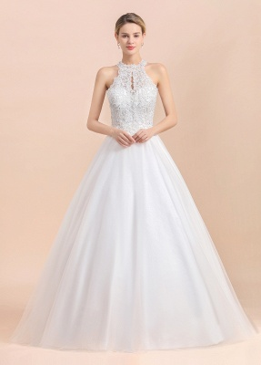 Exquisite High-Neck Lace Wedding Dress | Appliques Sequins Sleeveless Bridal Gowns_1
