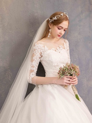 Ball Gown Wedding Dress Jewel Tulle Lace Half Sleeve Bridal Gowns Chapel Train_6