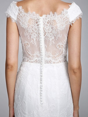 Romantic Mermaid Wedding Dress V-neck All Over Lace Cap Sleeve Sexy Backless Bridal Gowns Illusion Detail_10