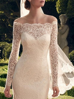 Sexy See-Through Mermaid Wedding Dress Off Shoulder Lace Long Sleeve Romantic Bridal Gowns Sweep Train_3