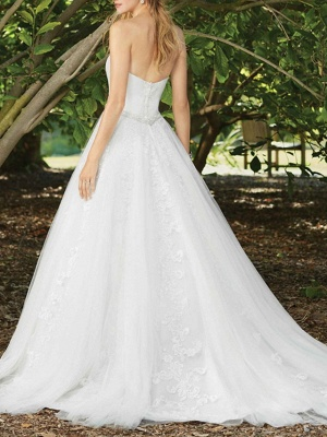 Sexy A-Line Wedding Dress Sweetheart Lace Sleeveless Bridal Gowns in Color Court Train_2