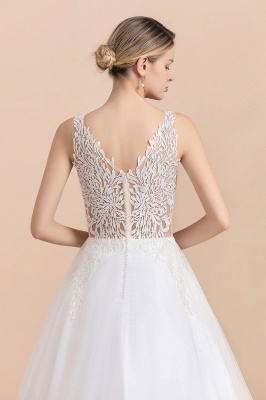 Boho V-Neck Lace Wedding Dress | Tulle Appliques Sleeveless Bridal Gowns_11