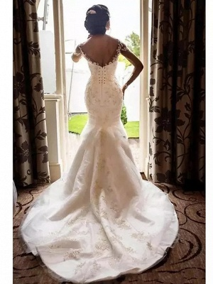 Romantic Mermaid Wedding Dress Scoop Lace Tulle Long Sleeve Sexy See-Through Bridal Gowns Court Train_4