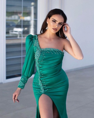 Chic One Shoulder Long Sleeve Prom Dress Mermaid Evening Gowns With Slit_2