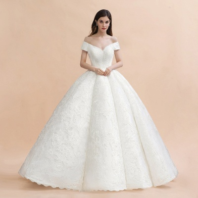 Luxury Ball Gown Lace Satin Sweetheart Wedding Dress | Sleeveless Bridal Gowns with V-Back_3