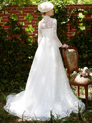 Illusion A-Line Wedding Dress Floral Lace Long Sleeve Bridal Gowns Court Train_2