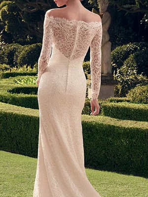 Sexy See-Through Mermaid Wedding Dress Off Shoulder Lace Long Sleeve Romantic Bridal Gowns Sweep Train_2