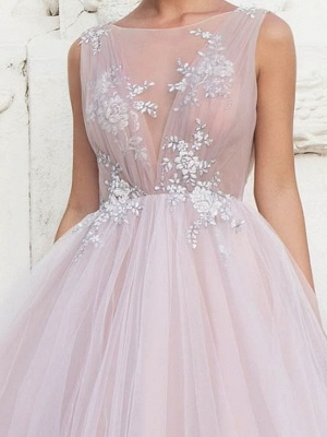 A-Line Wedding Dresses Jewel Tulle Polyester Sleeveless Bridal Gowns Country Plus Size Sweep Train_3