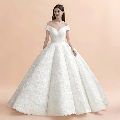 Luxury Ball Gown Lace Satin Sweetheart Wedding Dress | Sleeveless Bridal Gowns with V-Back_6