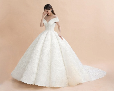 Luxury Ball Gown Lace Satin Sweetheart Wedding Dress | Sleeveless Bridal Gowns with V-Back_5