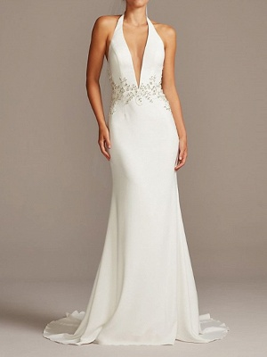 Country Plus Size Mermaid Wedding Dress Halter Neck Plunging Neck Sleeveless Bridal Gowns Sweep Train_1