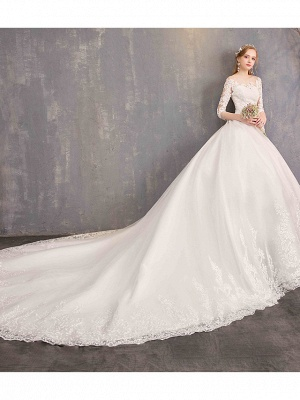 Ball Gown Wedding Dress Jewel Tulle Lace Half Sleeve Bridal Gowns Chapel Train_3