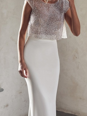 Sexy See-Through Two Piece Mermaid Wedding Dress Tulle Sequined Chiffon Cap Sleeve Bridal Gowns_3