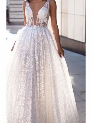 Sexy A-Line Wedding Dresses Scoop Lace Tulle Sleeveless Bridal Gowns Beach See-Through Sweep Train_3