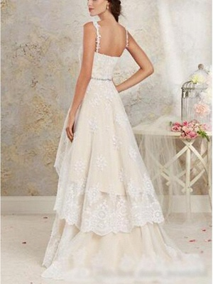 Asymmetrical A-Line Wedding Dress Sweetheart Lace Tulle Lace Spaghetti Strap Bridal Gowns Sweep Train_2