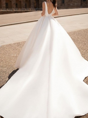 Illusion A-Line Wedding Dress Plunging Neck Tulle Chiffon Long Sleeve Formal Plus Size Bridal Gowns Court Train_2