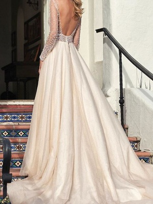 A-Line Wedding Dresses Jewel Tulle Long Sleeve Bridal Gowns Country Plus Size Sweep Train_2