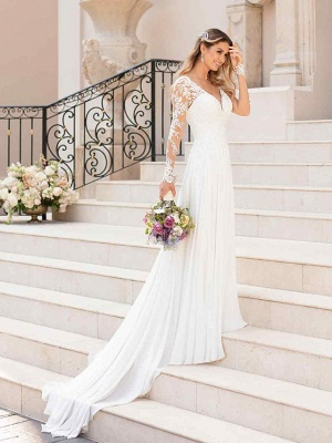 Elegant A-Line Chiffon Wedding Dresses Romantic V-Neck Lace Long Sleeve Bridal Gowns with Chapel Train_2