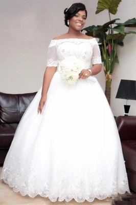 Modest Half-Sleeve Lace Ball-Gown White Wedding Dress_1