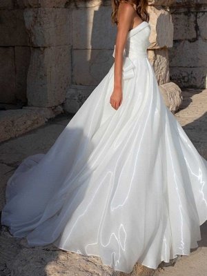 Country Plus Size A-Line Wedding Dress Sweetheart Sleeveless Bridal Gowns with Sweep Train_2