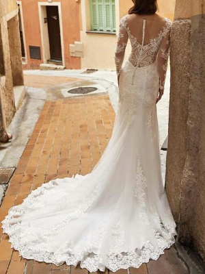 Mermaid Wedding Dresses V-Neck Tulle Polyester Long Sleeve Bridal Gowns Country Plus Size Sweep Train_3