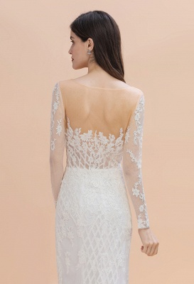 Gorgeous Jewel Tulle Lace Wedding Dress   Long Sleeves Appliques Mermaid Bridal Gowns_7