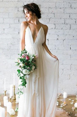 Sexy Spaghetti Straps V-neck Wedding Dress A-line Backless Floor Length Bridal Gowns