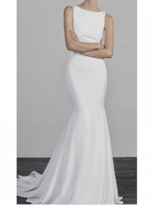 Formal Mermaid Wedding Dresses Bateau Charmeuse Straps Plus Size Bridal Gowns with Court Train_1