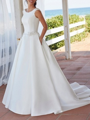 Simple A-Line Wedding Dress Jewel Satin Sleeveless Bridal Gowns Sweep Train