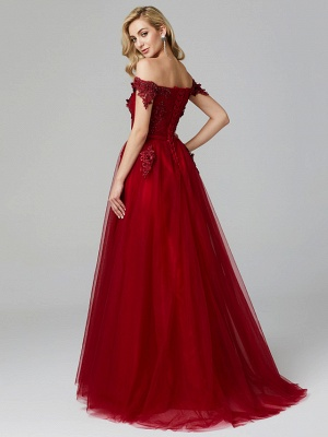 Glamorous Sleeveless Appliques Tulle A-Line Prom Dresses_10
