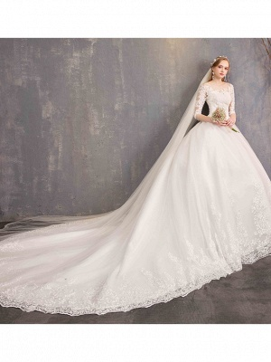 Ball Gown Wedding Dress Jewel Tulle Lace Half Sleeve Bridal Gowns Chapel Train_5