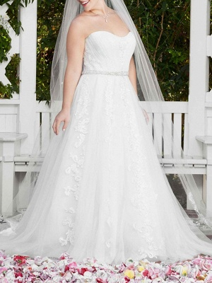 Sexy A-Line Wedding Dress Sweetheart Lace Sleeveless Bridal Gowns in Color Court Train_7