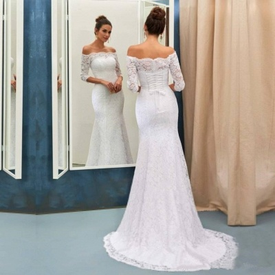 Mermaid Off-the-Shoulder Lace Wedding Dress Long Sleeves Sweep Train Bridal Gowns_2