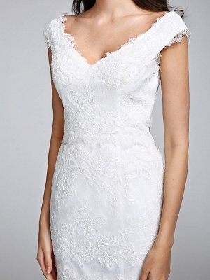 Romantic Mermaid Wedding Dress V-neck All Over Lace Cap Sleeve Sexy Backless Bridal Gowns Illusion Detail_9
