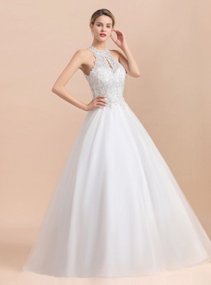 Exquisite High-Neck Lace Wedding Dress | Appliques Sequins Sleeveless Bridal Gowns_5