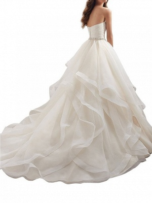 Plus Size A-Line Wedding Dresses Sweetheart Organza Strapless Bridal Gowns with Chapel Train_2