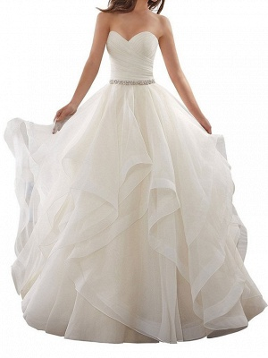 Plus Size A-Line Wedding Dresses Sweetheart Organza Strapless Bridal Gowns with Chapel Train_1