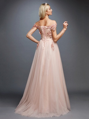Glamorous Sleeveless Appliques Tulle A-Line Prom Dresses_2