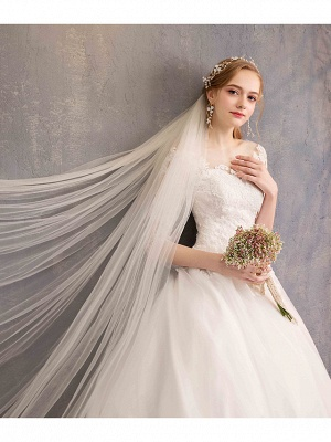 Ball Gown Wedding Dress Jewel Tulle Lace Half Sleeve Bridal Gowns Chapel Train_7