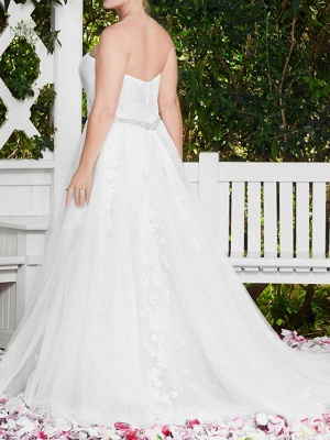 Sexy A-Line Wedding Dress Sweetheart Lace Sleeveless Bridal Gowns in Color Court Train_6