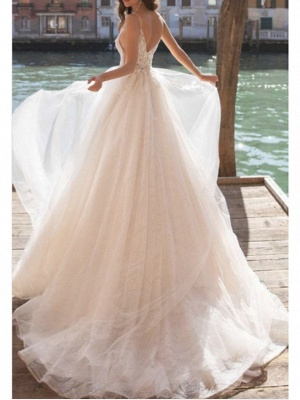Boho See-Through A-Line Wedding Dress V-Neck Tulle Charmeuse Spaghetti Strap Bridal Gowns Court Train_2